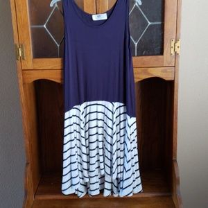 Navy Striped Sleeveless Dress